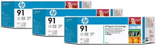 HP 91 3-pack licht grijs