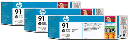 HP 91 3-pack foto zwart