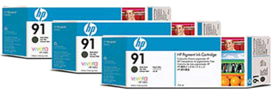 HP 91 3-pack mat zwart