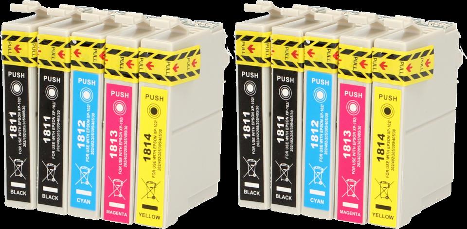 FLWR Epson 18XL Multipack (2 sets) zwart en kleur