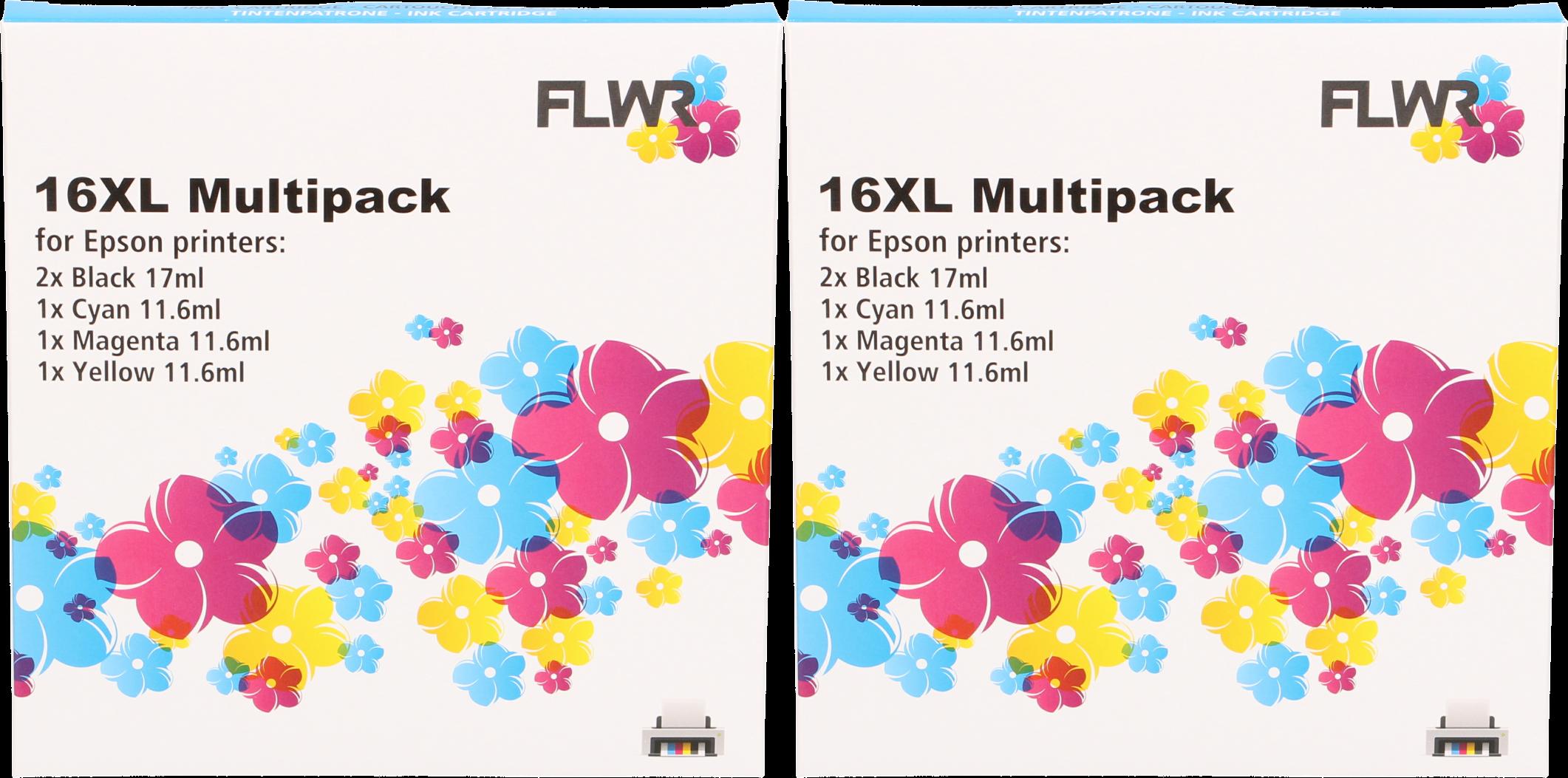 FLWR Epson 16XL Multipack (2 sets) zwart en kleur
