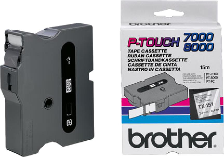 Brother  TX-151 zwart op transparant breedte 24 mm
