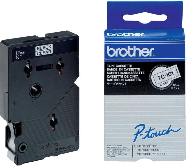 Brother  TC-101 zwart op transparant breedte 12 mm