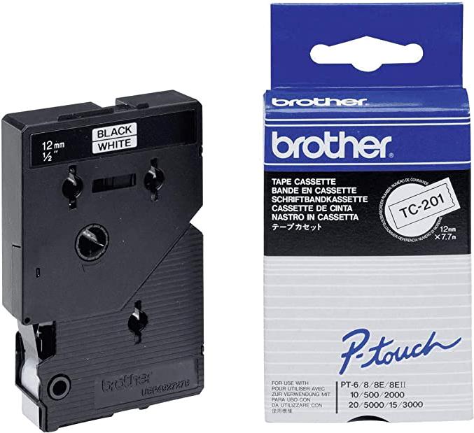 Brother  TC-201 zwart op wit breedte 12 mm
