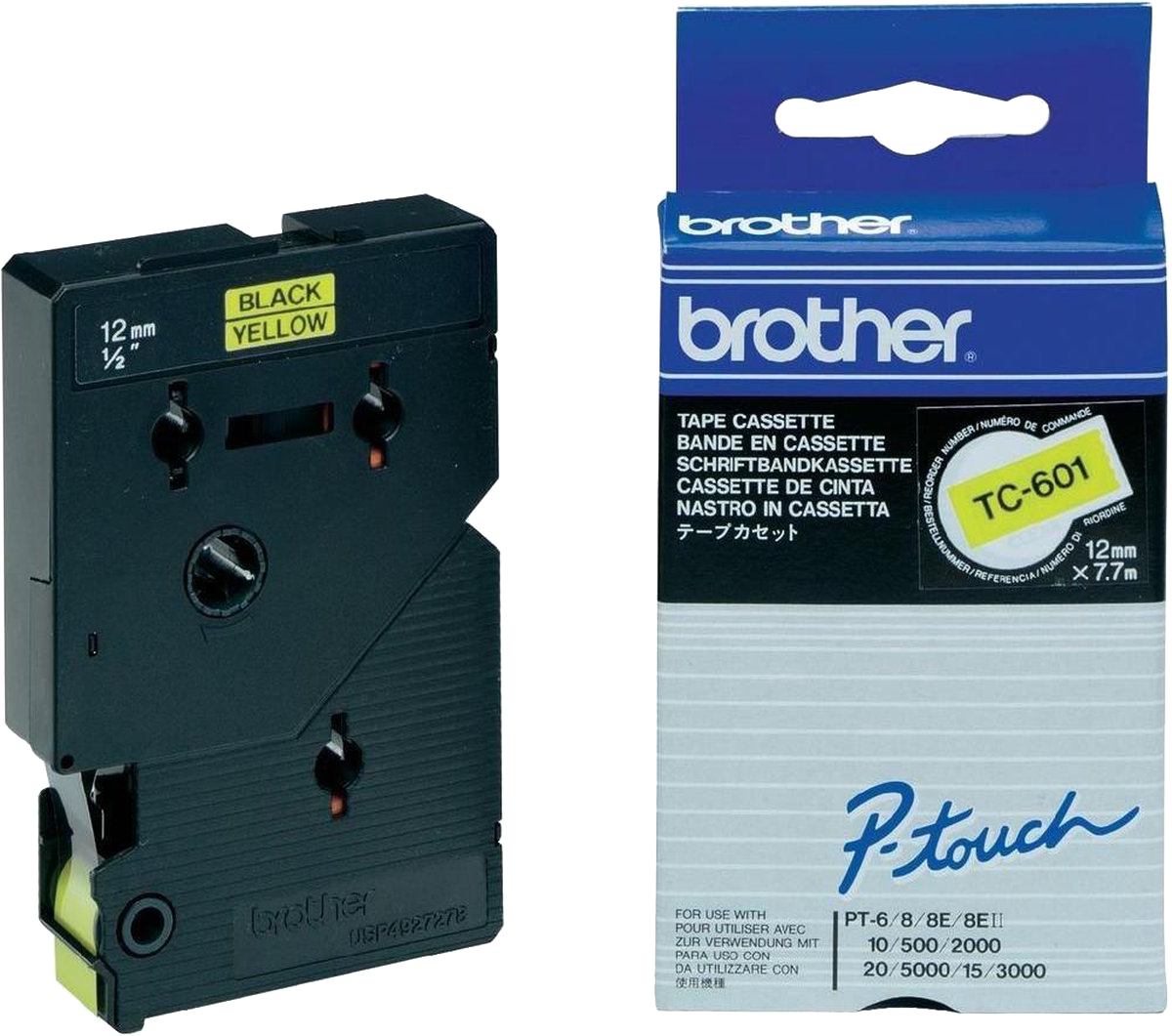 Brother  TC-601 zwart op geel breedte 12 mm