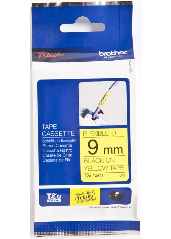 Brother  TZE-FX621 flexible tape zwart op geel breedte 9 mm