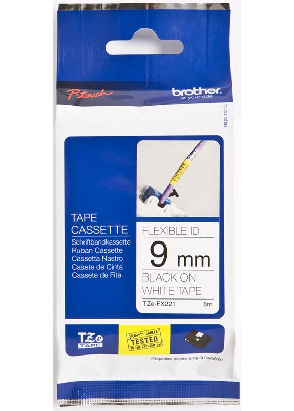 Brother  TZE-FX221 flexible tape zwart op wit breedte 9 mm