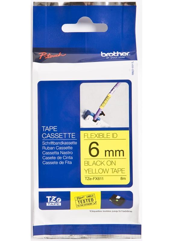 Brother  TZE-FX611 flexible tape zwart op geel breedte 6 mm