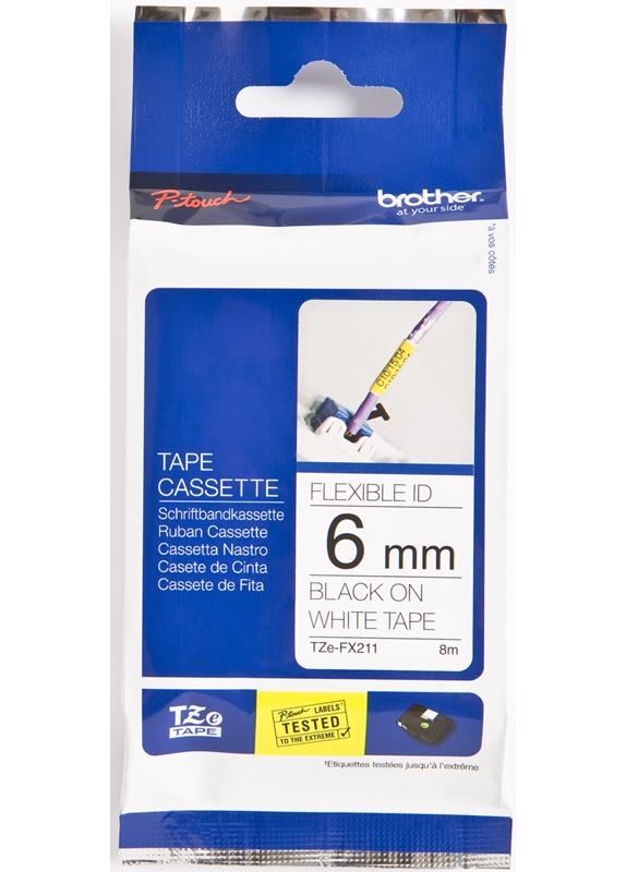 Brother  TZE-FX211 flexible tape zwart op wit breedte 6 mm