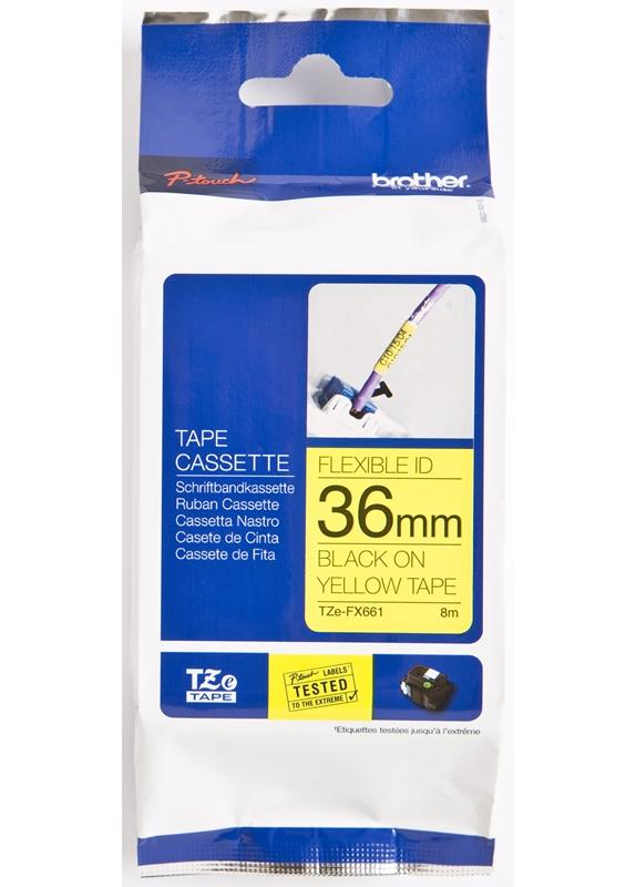 Brother  TZE-FX661 flexible tape zwart op geel breedte 36 mm
