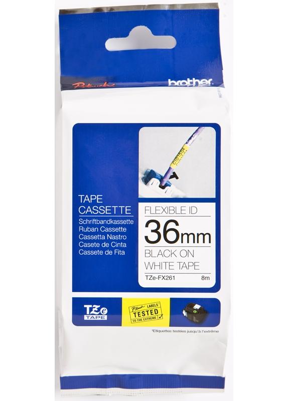 Brother  TZE-FX261 flexible tape zwart op wit breedte 36 mm