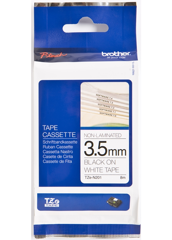 Brother  TZE-N201 zwart op wit breedte 35 mm
