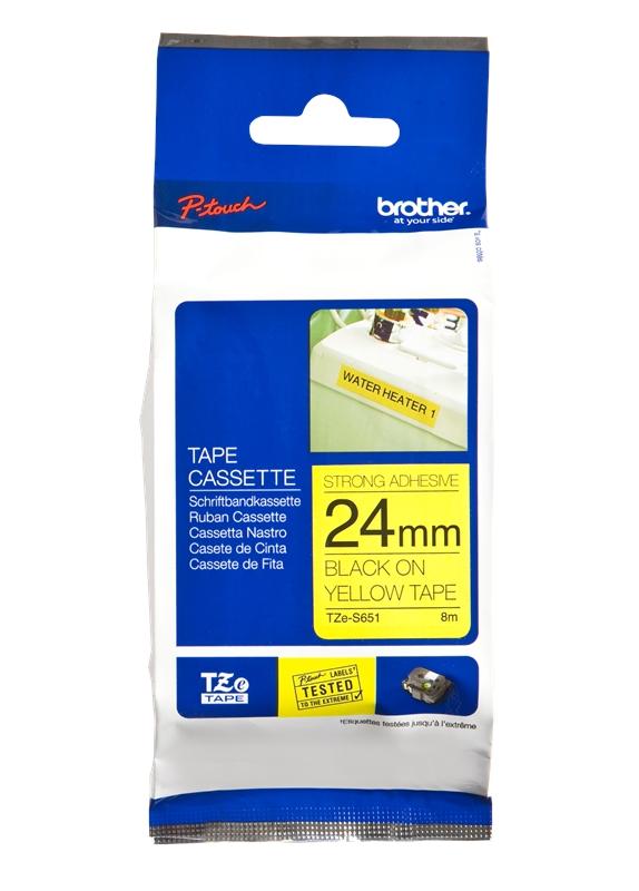 Brother  TZE-S651 sterk klevend zwart op geel breedte 24 mm