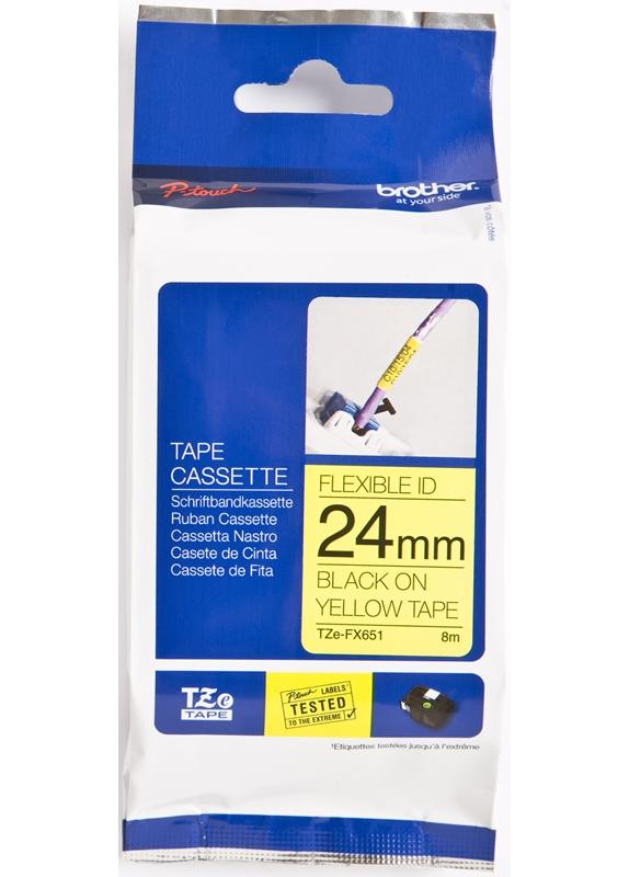 Brother  TZE-FX651 flexible tape zwart op geel breedte 24 mm