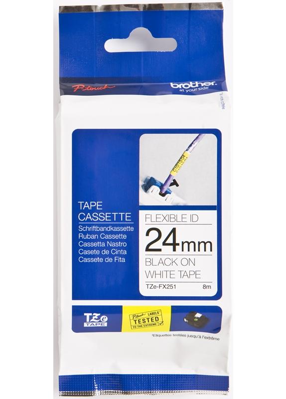 Brother  TZE-FX251 flexible tape zwart op wit breedte 24 mm