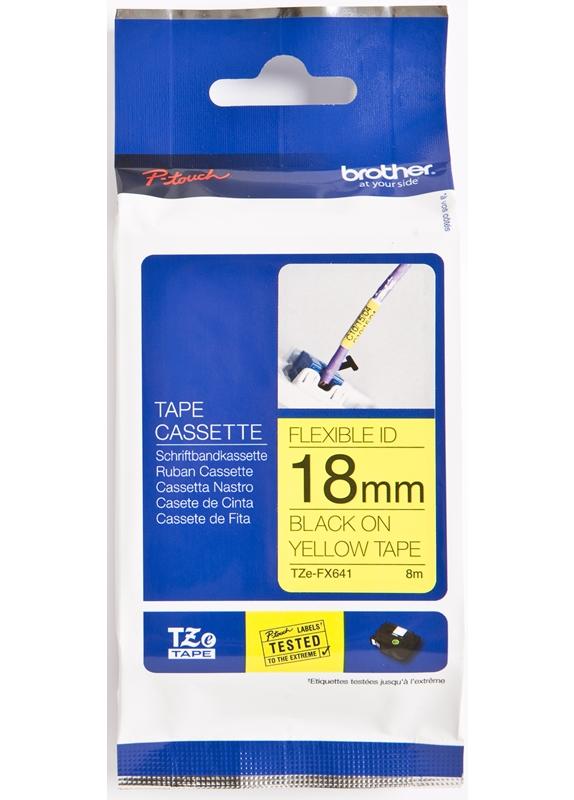 Brother  TZE-FX641 flexible tape zwart op geel breedte 18 mm