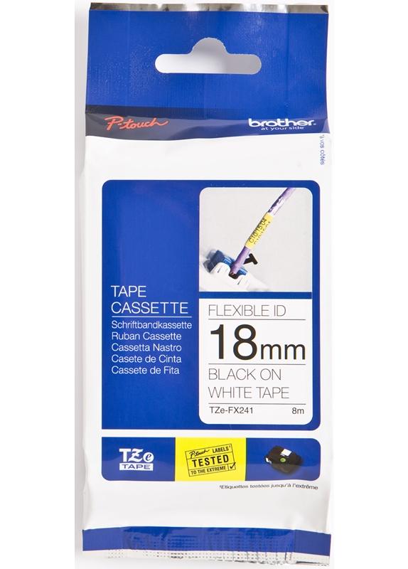Brother  TZE-FX241 flexible tape zwart op wit breedte 18 mm