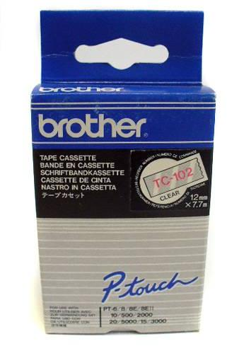 Brother  TC-102 rood op transparant breedte 12 mm