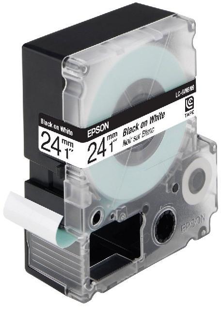 Epson  LC-6WBN9 zwart op wit breedte 24 mm